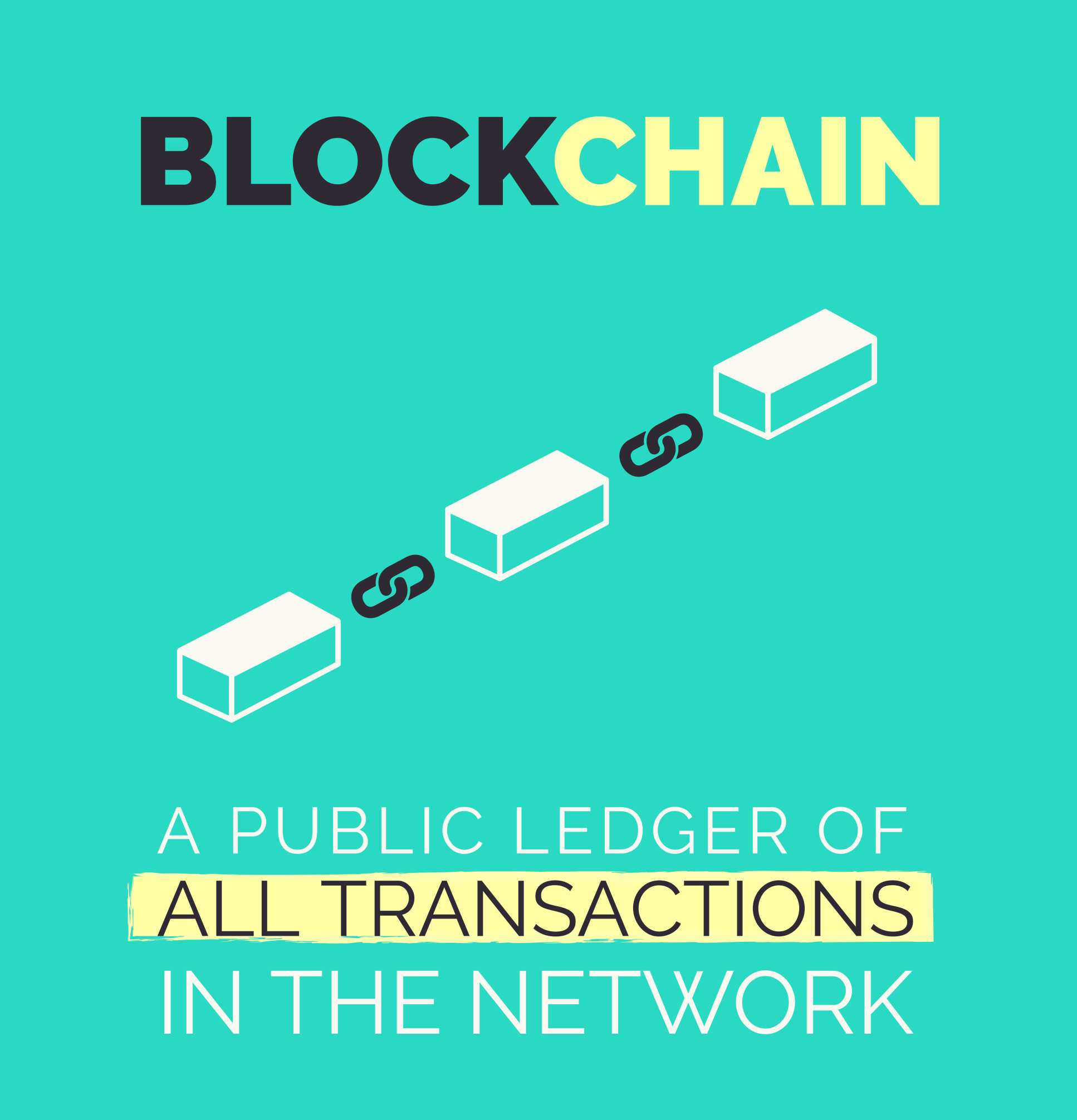 Illustration caption: Blockchain - a public ledger of all transactions in the network