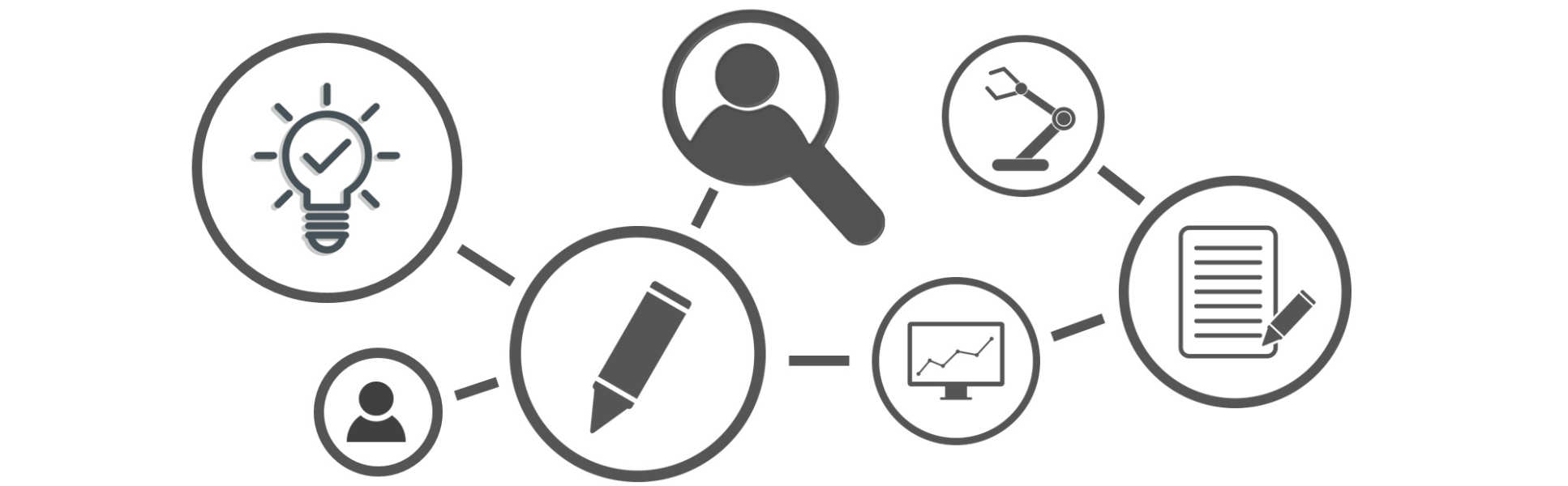 Design and checklist icons linked together