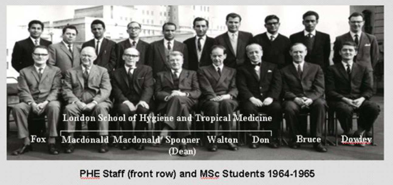 PHE staff (front row) and MSc students 1964-65