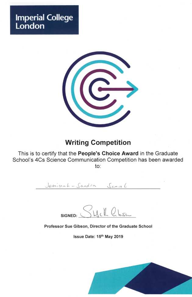 Jemimah's 4Cs Competition Certificate