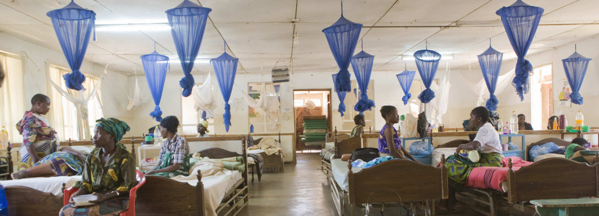 Patients in hospital being treated for malaria