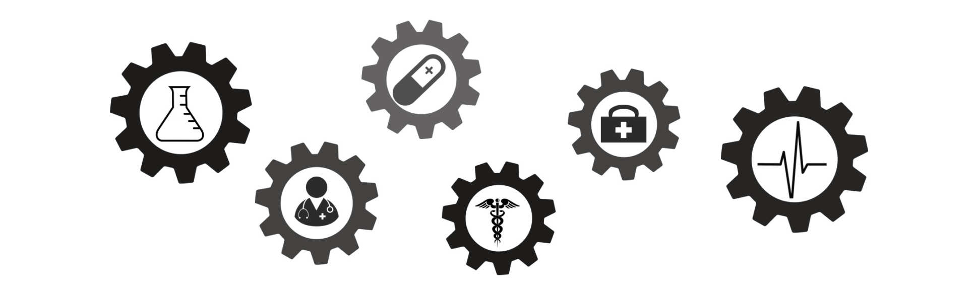 Cog icons with icons depicting health and research inside