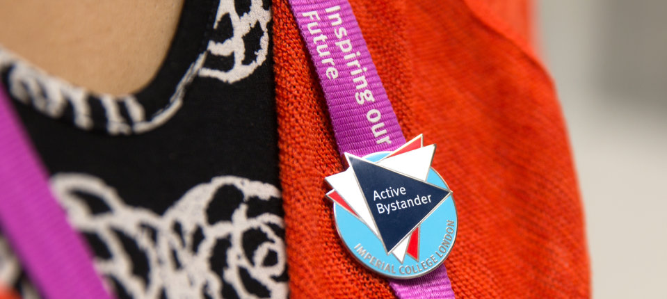 Close up of Active Bystander badge on a lanyard
