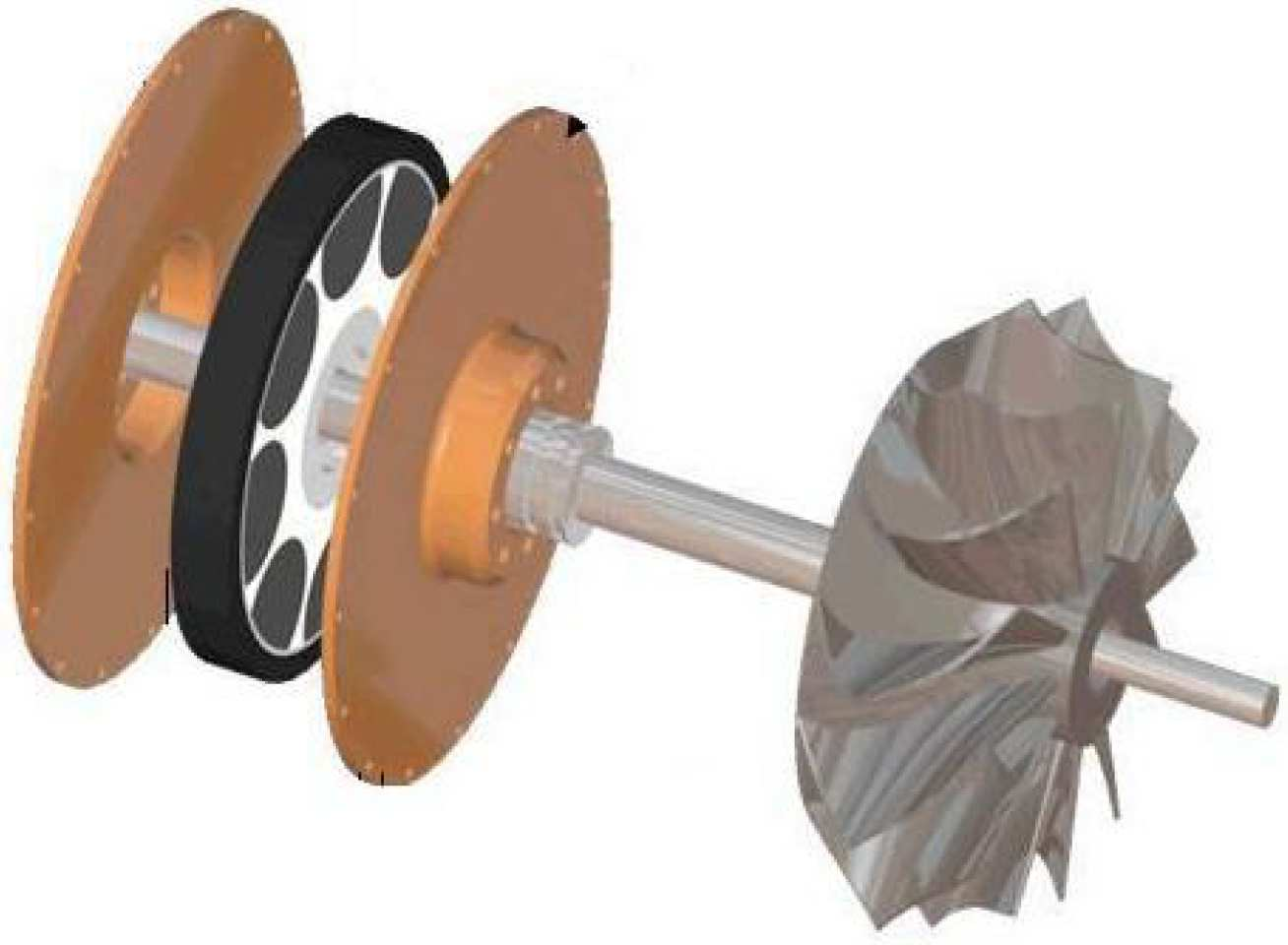 Main components of the dynamometer - the stators, the magnet and the rotor