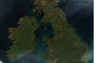 Satellite image of the UK courtesy NASA