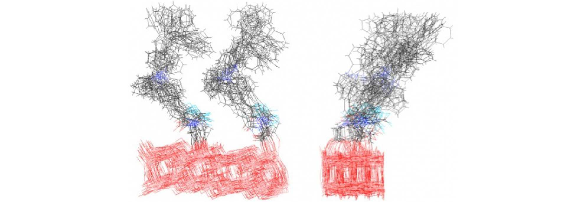 Illustration of the space spanned by the different conformations of a pair of surface anchored indolene dyes. The two figures are the front and side view of the superimposition of the frames, taken at regular interval, of a 9 ps Car-Parrinello molecular dynamics trajectory (red =surface, black = carbon and hydrogen, blue= sulfur and nitrogen).