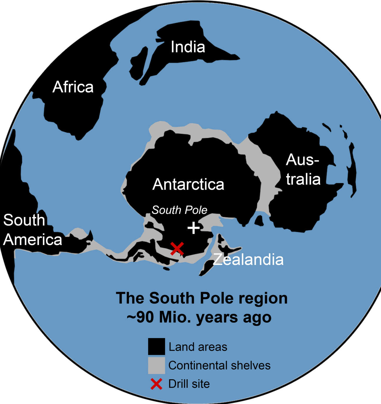 Map of the world with the continents rearranged, marking the drill site near the ancient south pole