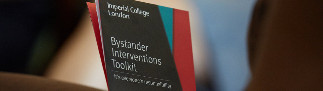 Photo of our Active Bystander leaflet - text reads 'Bystander Interventions Toolkit - It's everyone's responsibility
