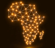 Africa outline in lights