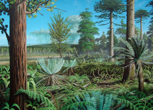 Alexander Island, painting of a Cretaceous forest from the Antarctic Peninsula