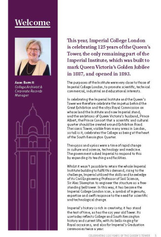 Introduction to the celebration of the 125th anniversary of the Queen's Tower by the College Archivist Anne Barrett