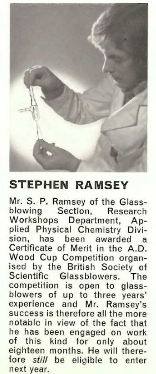 A newspaper clipping of a young Steve Ramsey holding a glass vial