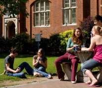 Students sitting in Beit Quad