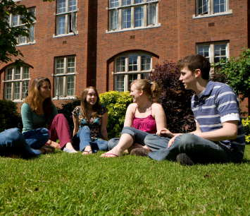 Students sitting at Beit Quadrangle