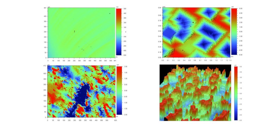 VSI images of calcite crystals at different reaction conditions