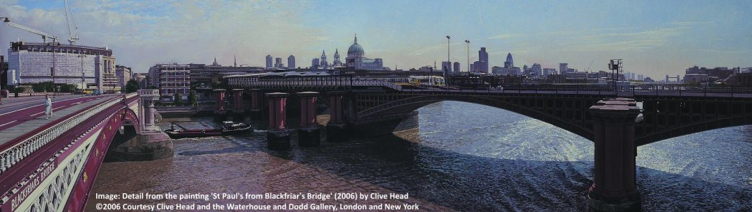Detail of the painting St Paul's from Blackfriar's Bridge by Clive Head