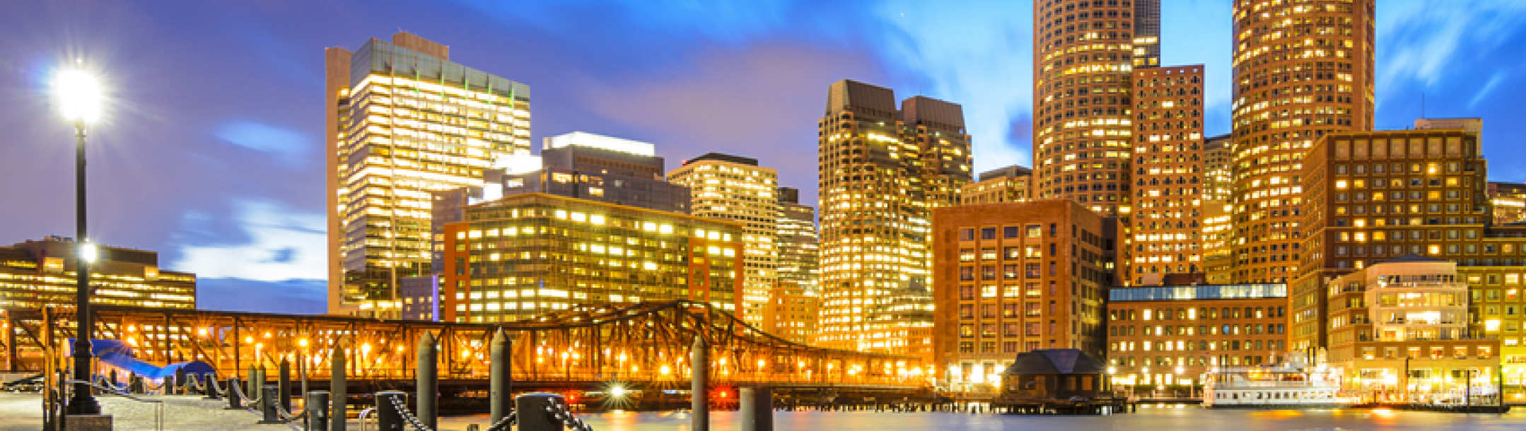 Boston city scape at night