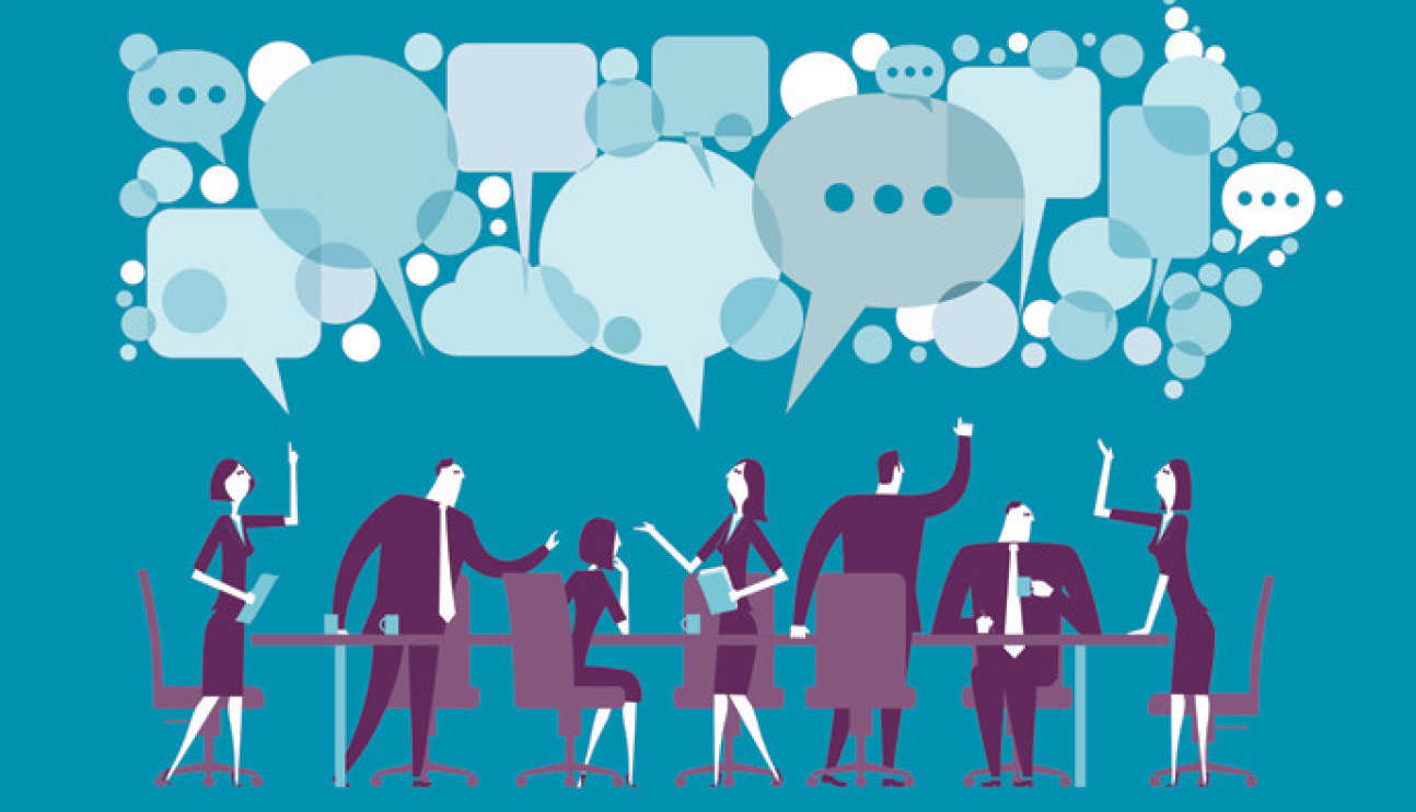 An illustration of people and lots of speech bubbles