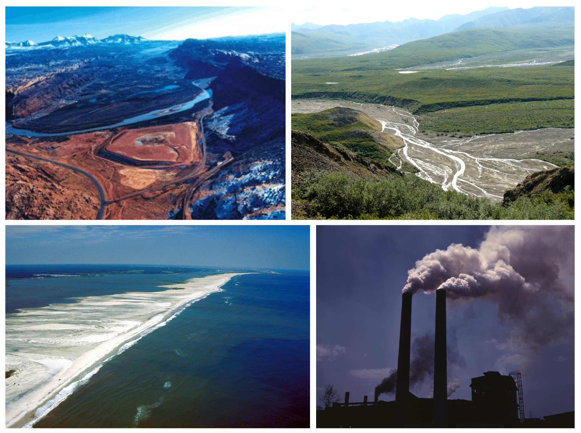 [Top left] View of the uranium mill tailings pile in Moab, Utah, [Top-right] Sediment transport within Toklat river, Alaska, USA,[ Bottom-left] Coastal sediment transport at Assateague Island, Maryland, USA, [Bottom-right] Air pollution from fossil-fuel power station