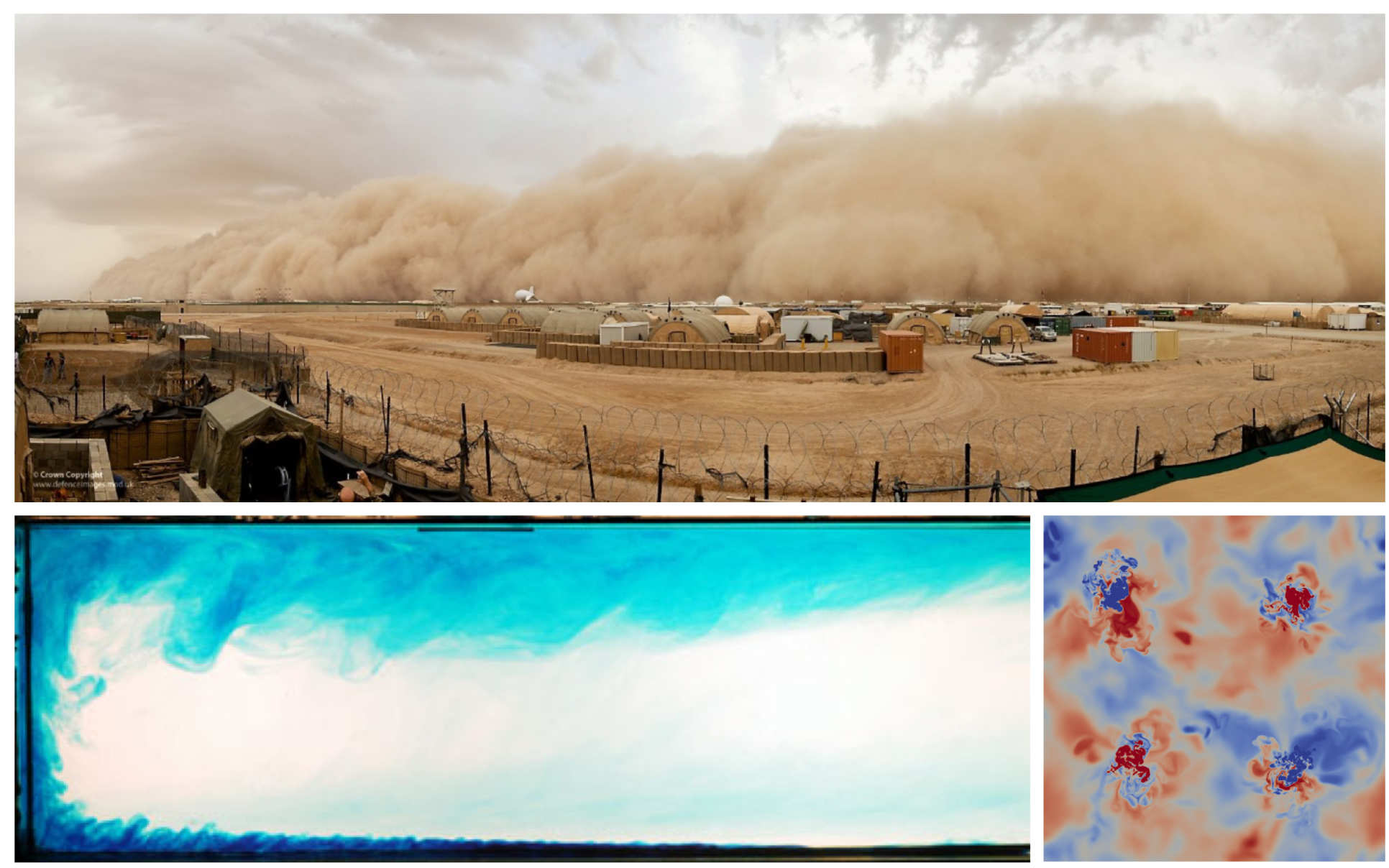 [Top] Dust storm in Afghanistan, [Bottom-left] Horizontal convection produced by the differential heating of a horizontal boundary condition, [Bottom-right] A horizontal slice though a confined space heated and cooled by isolated sources of buoyancy.