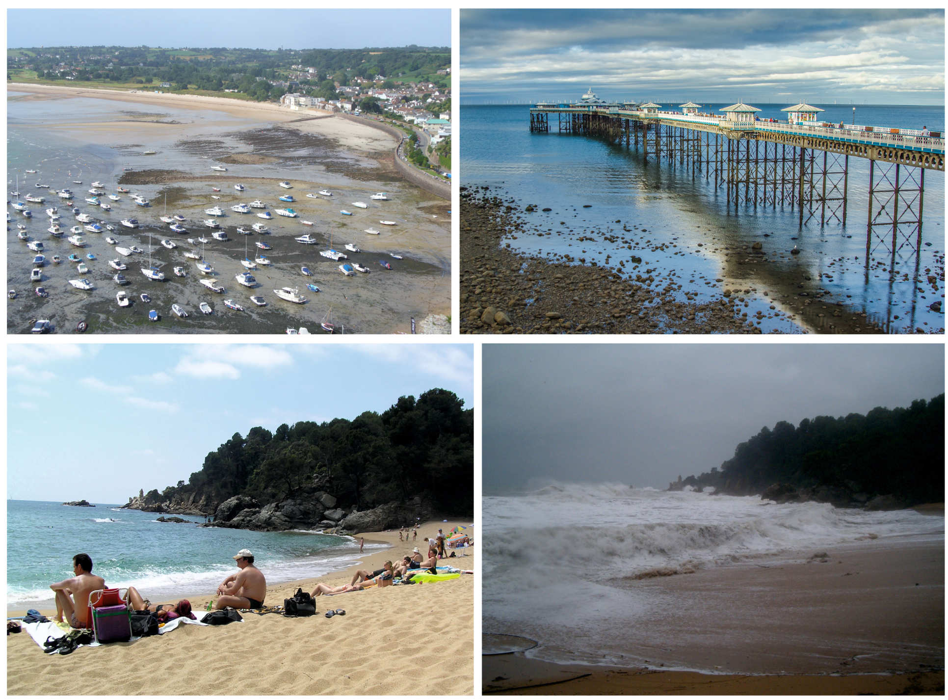 [Top-left] Gorey harbour, Jersey at low tide, [Top-left] Example of a Coastal Structure: Llandudno Pier, Wales , [Bottom] A recreational beach in the Mediterranean Sea in calm and storm conditions