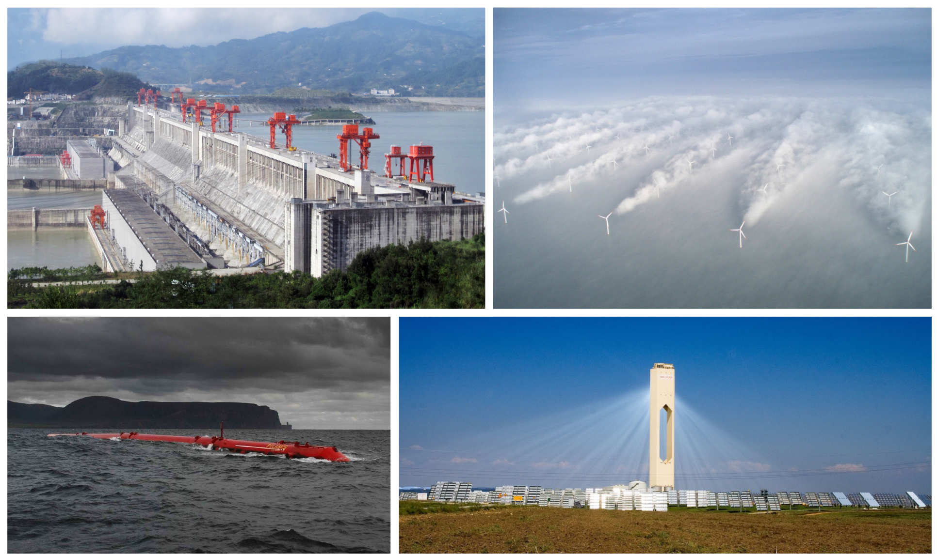 [Top-left] Three Gorges Dam, China, [Top-right] Wake from offshore wind turbine array, [Bottom-left] Pelamis wave energy converter, [Bottom-right] Solar power tower, Seville, Spain.