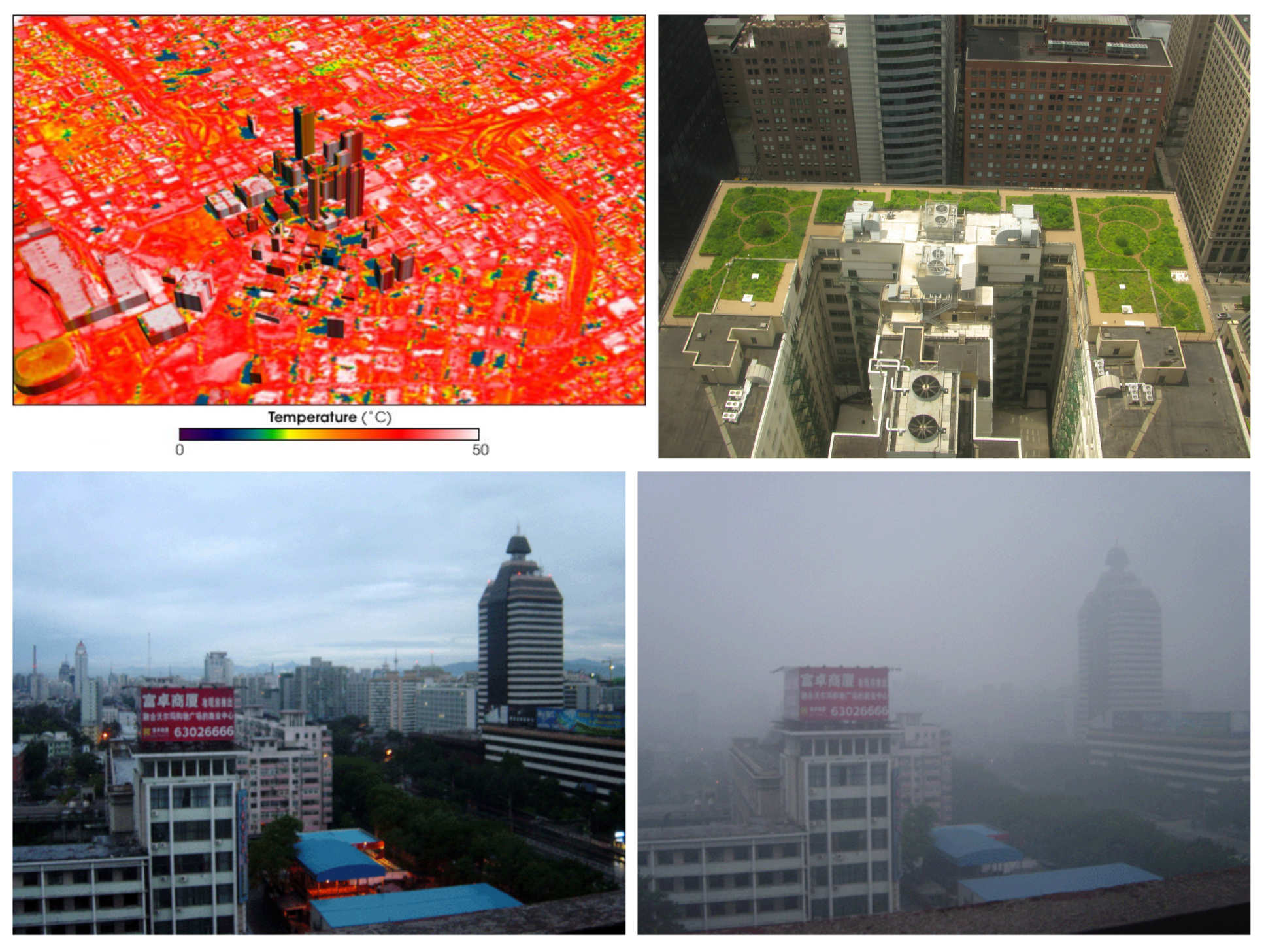 [Top-left] Urban heat island in Atlanta, USA, [Top-right] Green roof of city hall, Chicago, Illinois, USA, [Bottom] Beijing on a clear and smoggy day