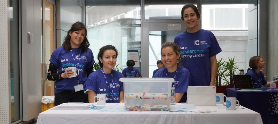 Monste, Elena, Andrea and Ana at 'Revealing Research' - a Supporters' Day for the CRUK Imperial Centre