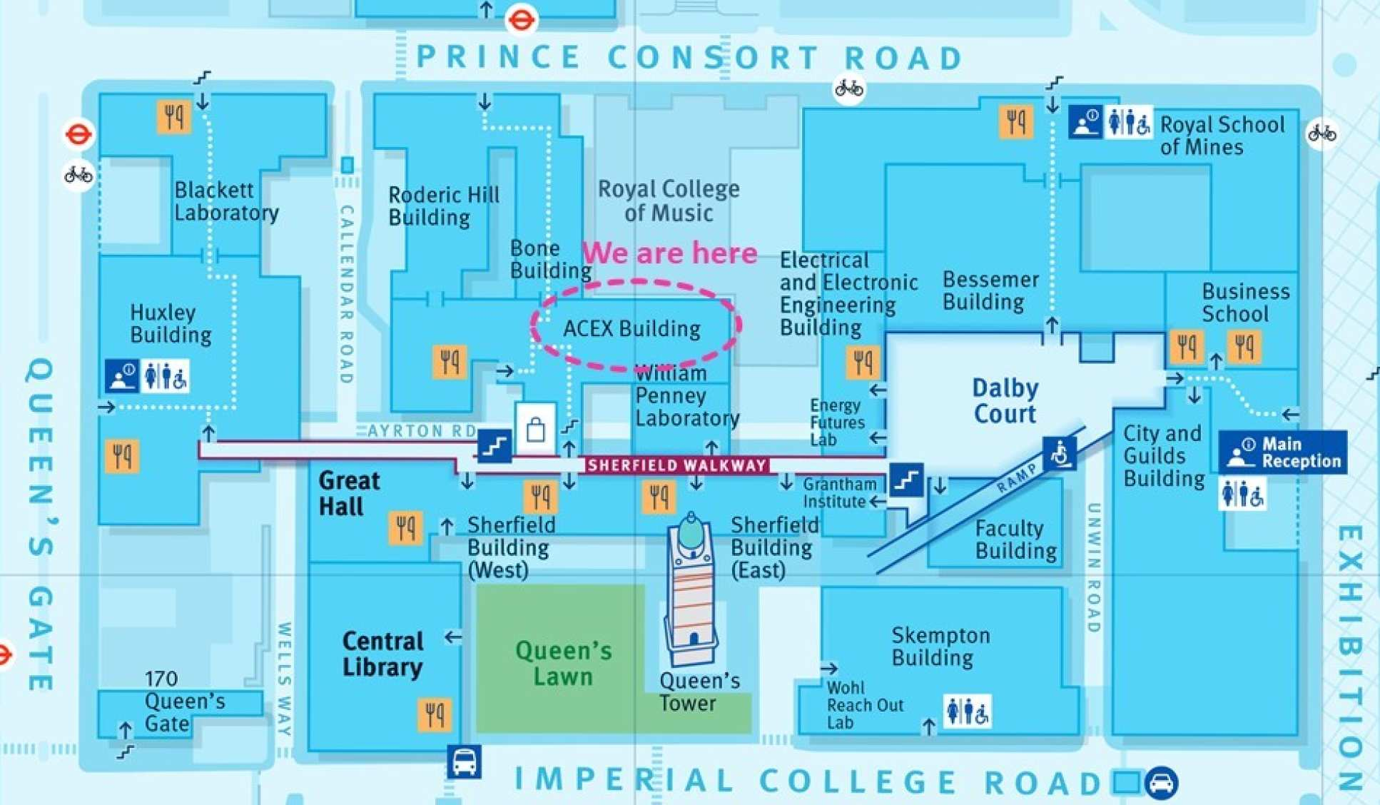 We are located in the ACEX building at the South Kensington Campus