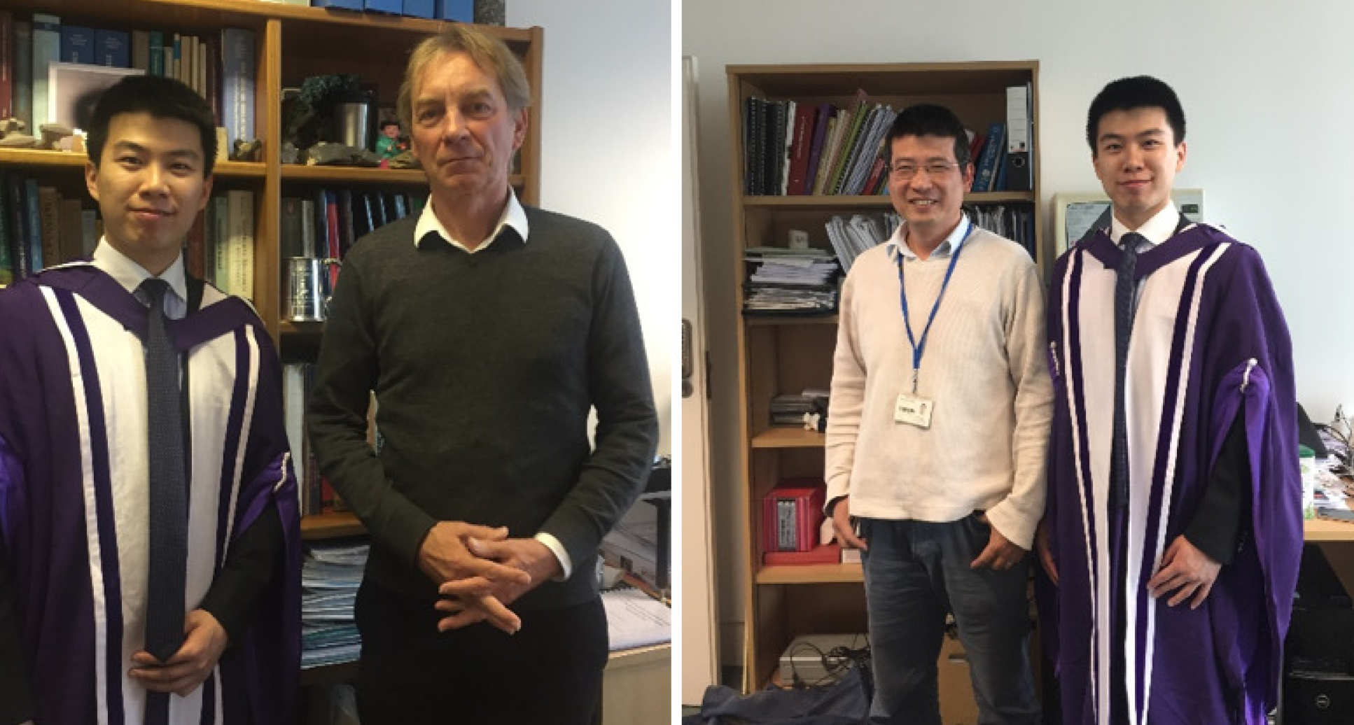 Dr. Qinghua Lei with his PhD supervisors: (left) with Dr. John-Paul Latham; (right) with Dr. Jiansheng Xiang