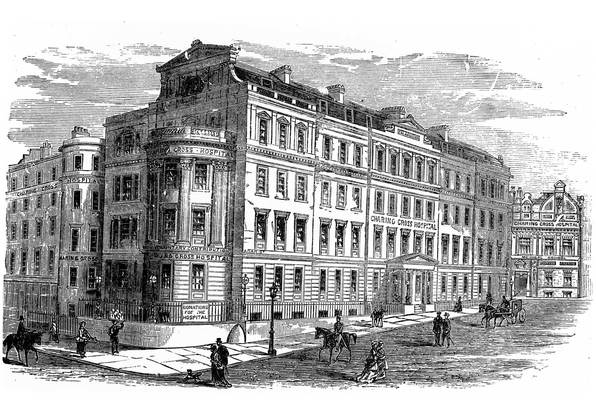 Charing Cross Hospital in 19th century