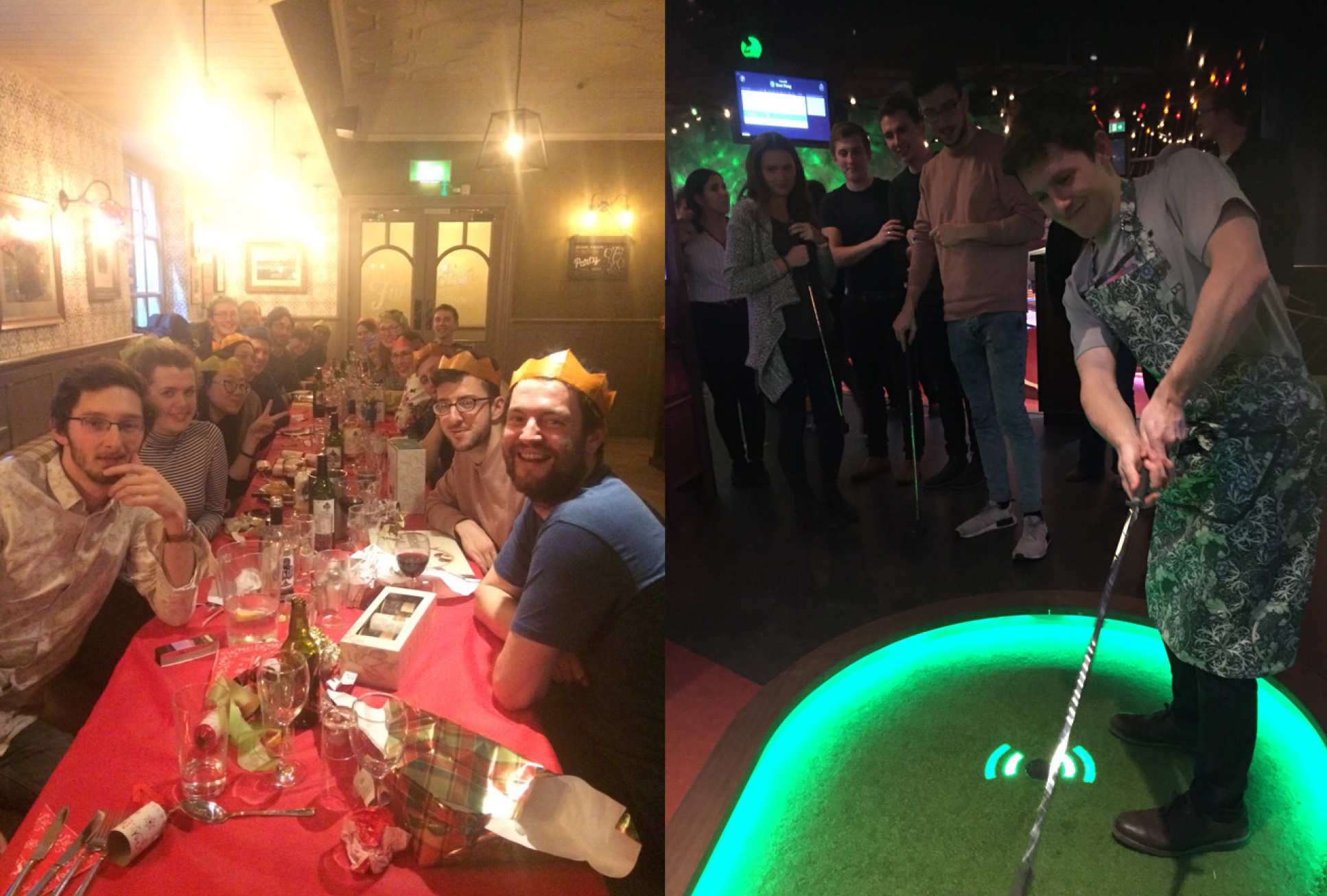 Group dinner and crazy golf