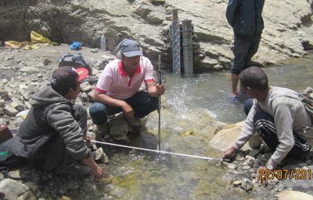 citizen scientists measuring water levels in a river