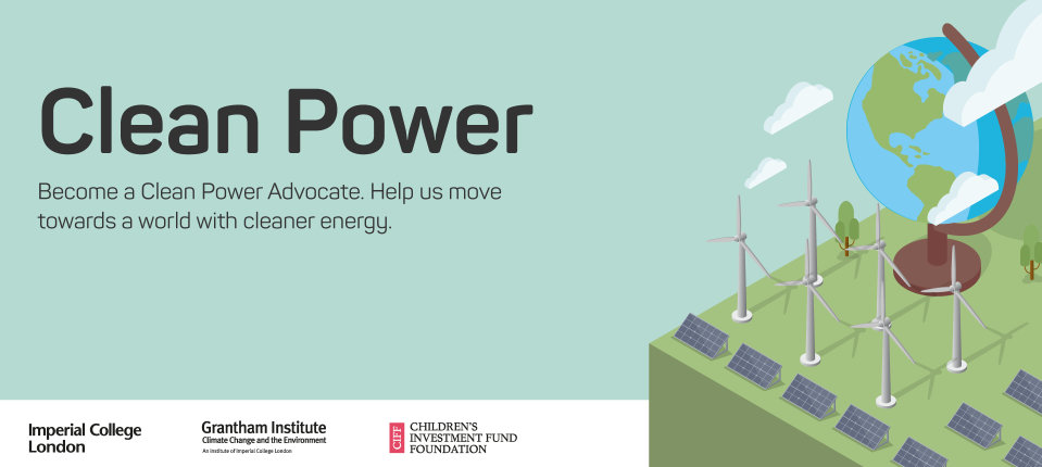 graphic with wind turbines, solar panels, a globe and a power station. The words read