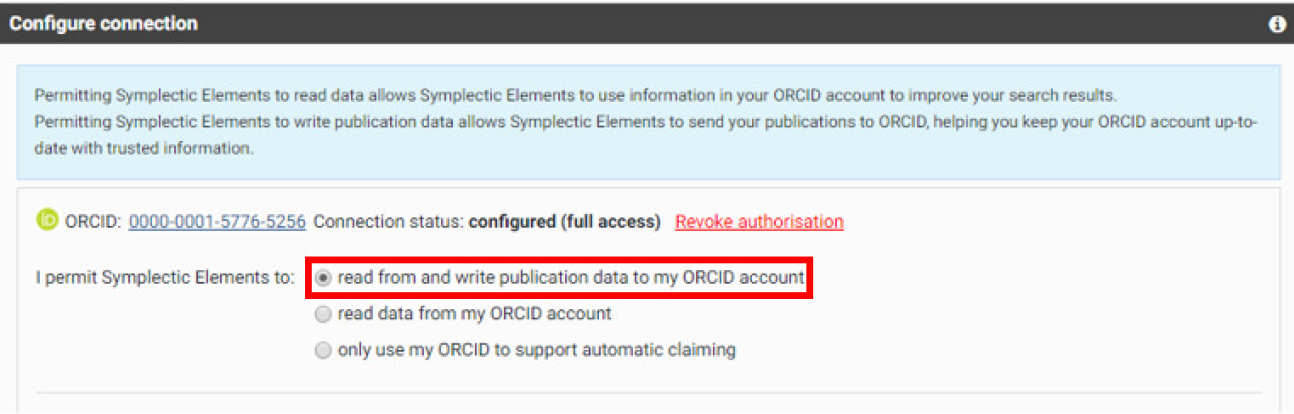 Symplectic configure connection box with read from and write publication data to my ORCID account