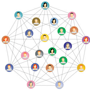 Many icons of people connected in a big network