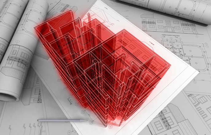 Red building on plans