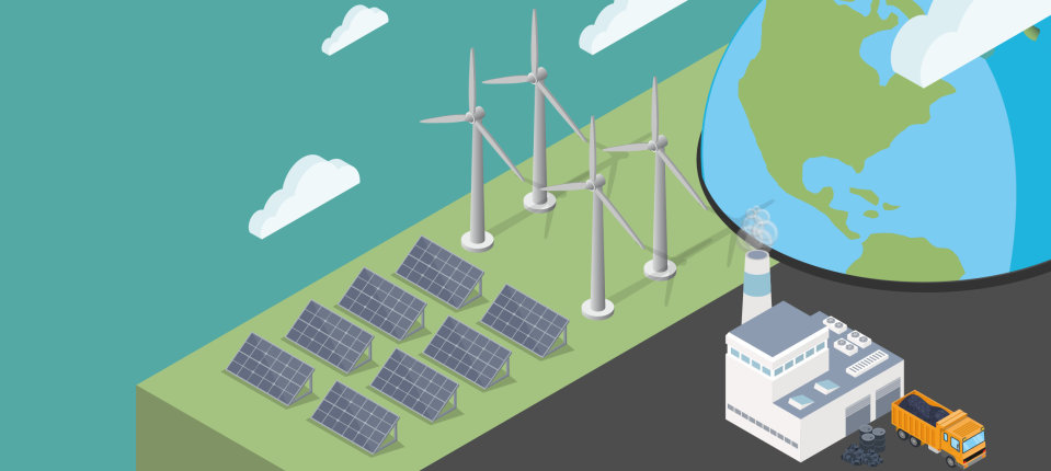 graphic with wind turbines, solar panels, a globe and a power station