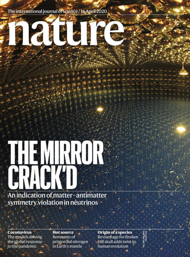 The cover of Nature with a picture of the Super-K detector and the headline 'The Mirror Crack'd'