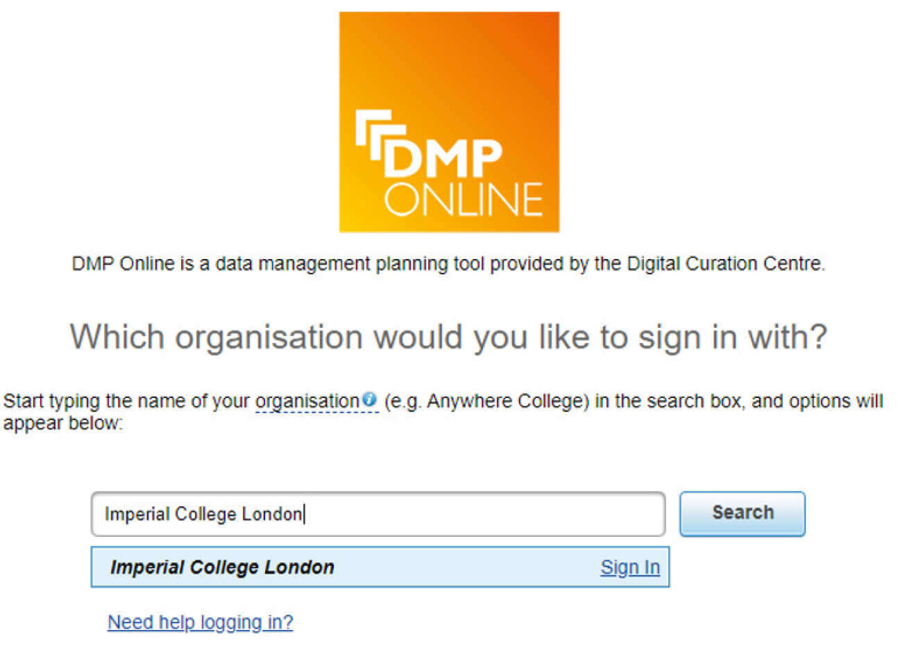 DMPOnline organisation look up