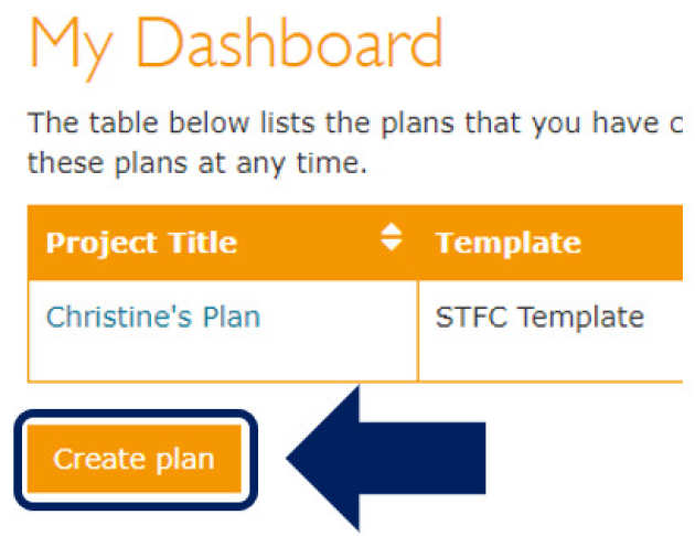 DMPOnline create plan button