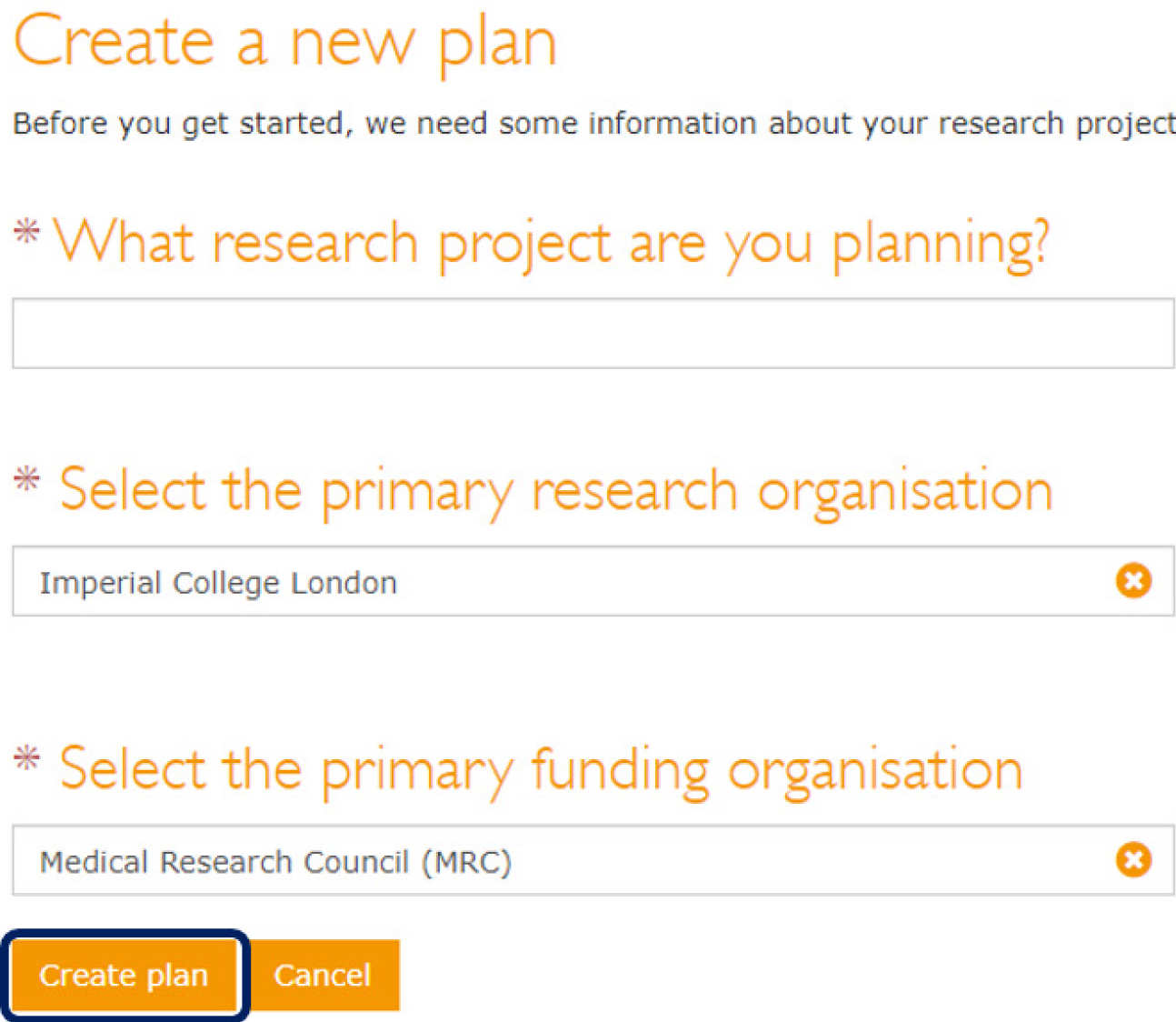 DMPOnline create a new plan page