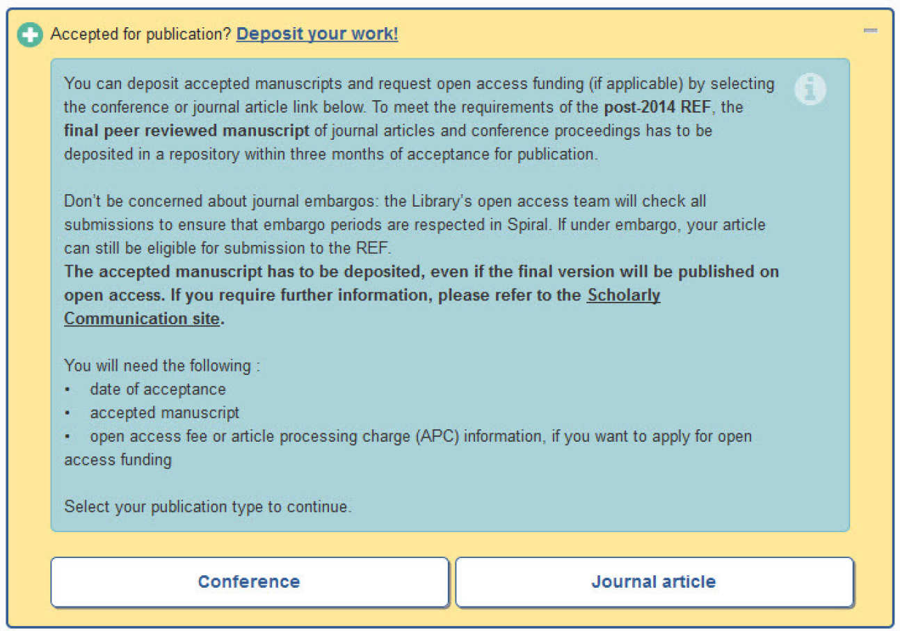 Screen image showing Conference or Journal article link