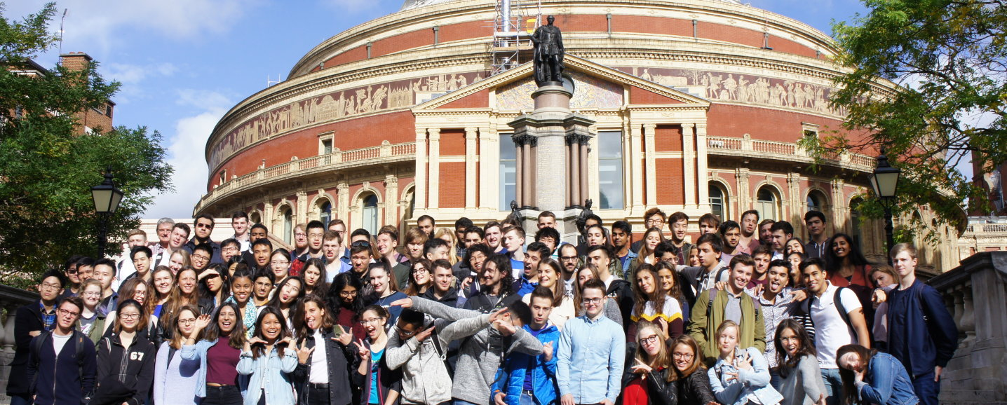 Students outside the Royal Albert Hall