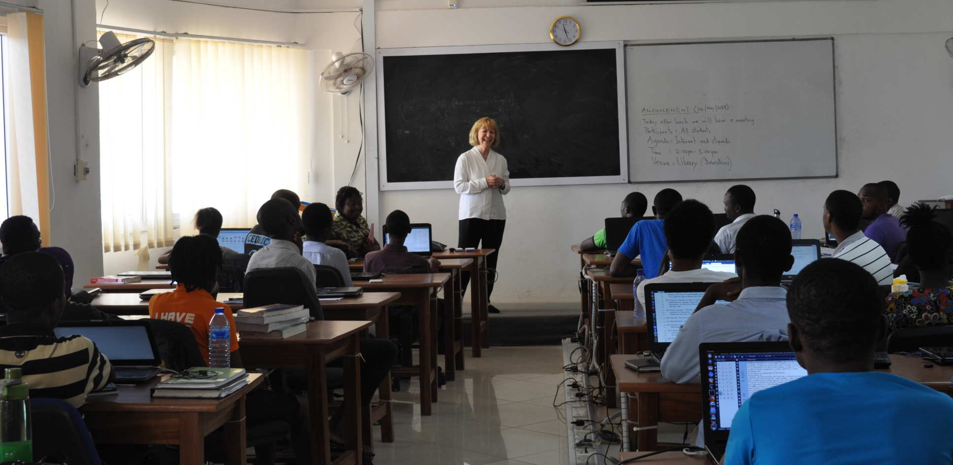 Professor Dallman speaks to Masters students at the African Institute of Mathematical Sciences