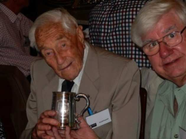 Dr David Goodall drank from an Imperial tankard at his 103rd birthday party
