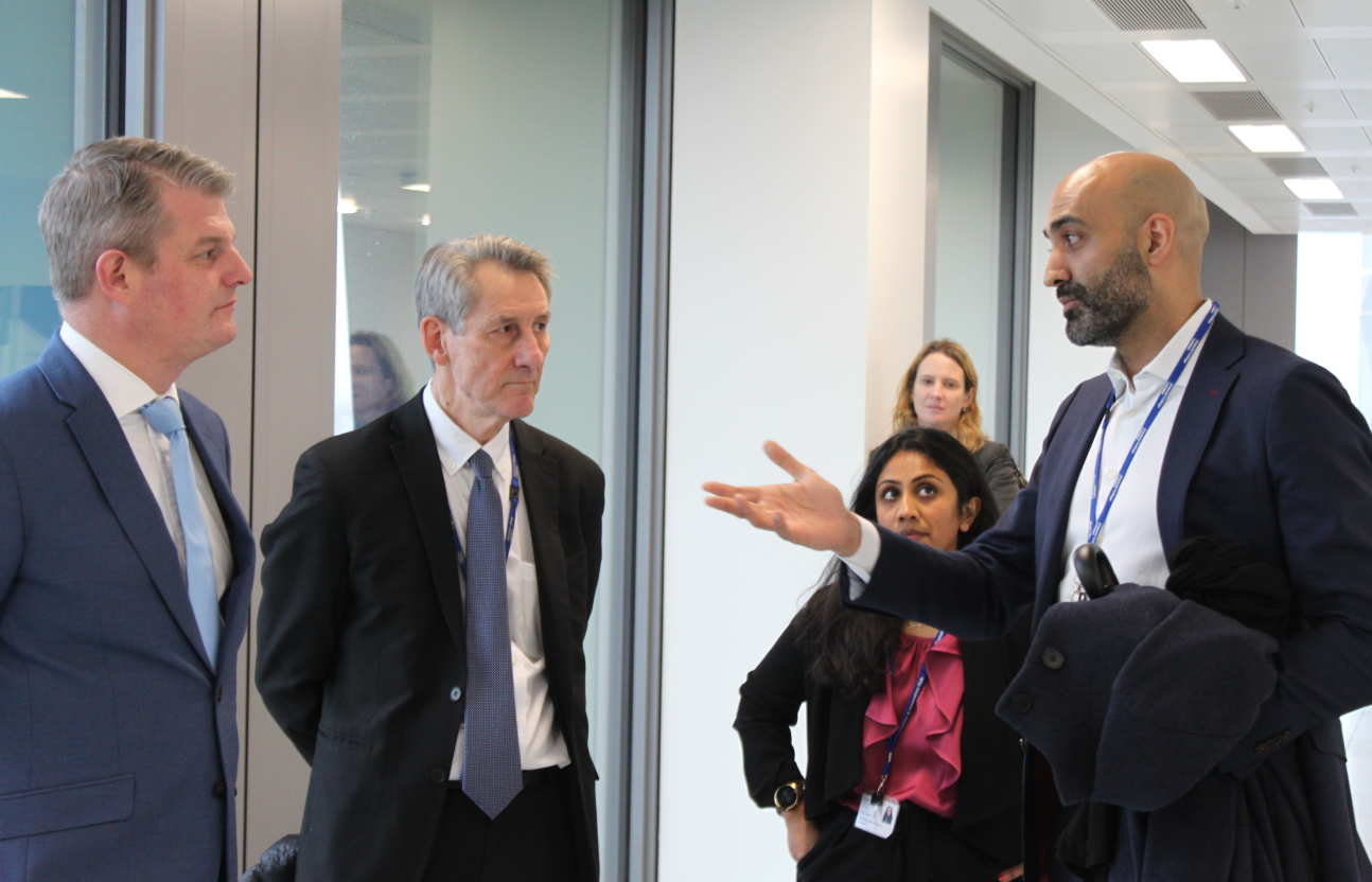 Caption: (l-r) Stuart Andrew MP, Professor Neil Alford, Dr Deeph Chana