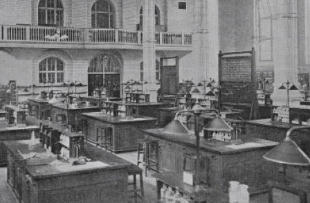 Old photo of a chemistry lab at Imperial