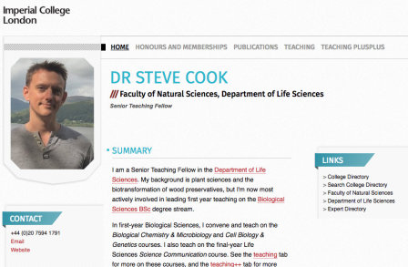 Dr Steven Cook's PWP page