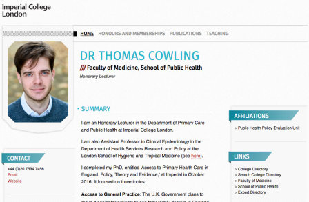 Dr Thomas Cowling's PWP page